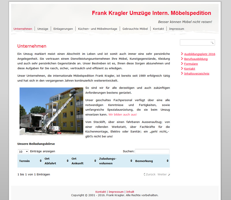 Projekt Internationale Umzüge Frank Kragler